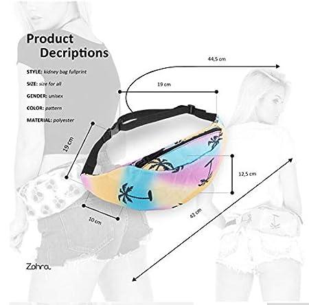Hwyaobao Zipper Waist Black 3D Printing Waist Bag Unisex Fanny Packs Belt Bum Bag Waist Packs