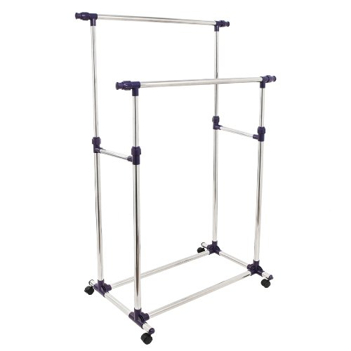 Deluxe Stainless Steel Double Rails Rolling Clothing And