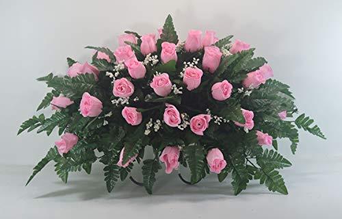 (R21 Pink Rose Bud Cemetery Flower Arrangement, Headstone Saddle, Grave, Tombstone Arrangement, Cemetery)