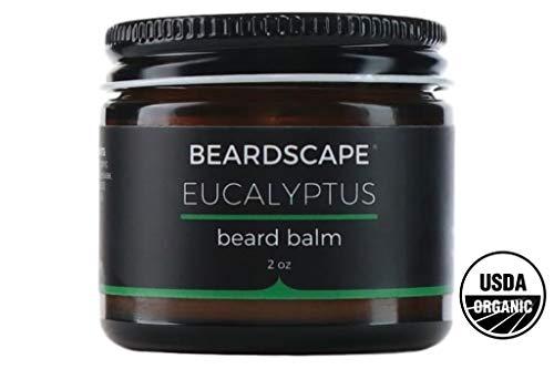 Beardscape Eucalyptus Beard Balm | USDA Organic, 2oz | Tames Beards | Blend of Essential Oils, Eucalyptus, Spearmint, Peppermint Oil | Softens Facial Hair and Skin | Hydrating Moisturizer, Conditioner