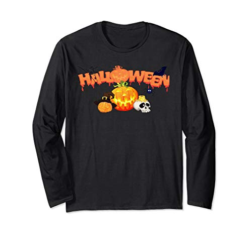 Halloween Web Banners (Happy Halloween Banner Pumpkin Skull Cobweb Design Long Sleeve)
