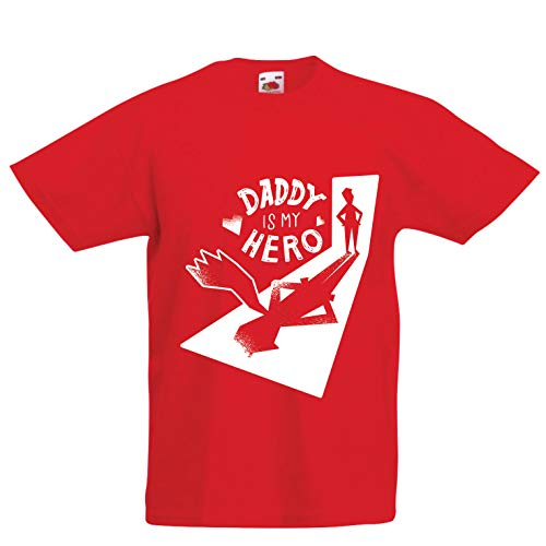 lepni.me Kids T-Shirt Daddy is My Hero - for Super Dads, (12-13 Years Red Multi -