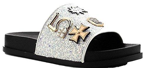 Flip Flop Pendant (Cape Robbin Moira-25 Women Slides Flip Flop Glitter Metal Pendant Ornament Sandal White 7)
