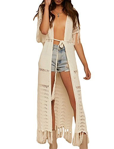 Crochet Tassel Long Bikini Swimsuit Cover Ups for Women Hollow Out Swimwear Knitted Kimono Cover Up ()