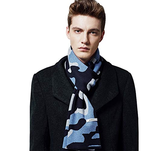 (Scarves Scarf Men's Autumn and Winter Camouflage Wool Korean Version of The Wild Simple Fashion Thick Warm Scarf Gift Box Fashion Gift Warm and Comfortable (70.811.8 inch) Cold Weather Scarves)