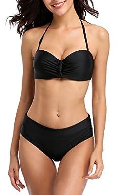 ATTRACO Bikini Swimsuit for Women Wireless Backless Two Piece Swimwear