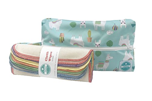 Luludew Reusable Wipe Bag Set for Cloth Diapering – Printed Travel Bag with 1-Ply Wipes (12 Pack, Llama)