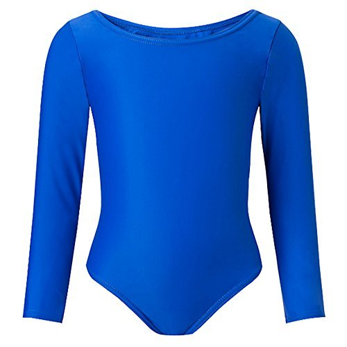 Child Girls Leotard Sleeved Stretchy Dance Gymnastics Ballet Sports Uniform Top (Royal Blue, 22 ( 3 - 4 Years)) by REAL LIFE FASHION LTD by REAL LIFE FASHION LTD