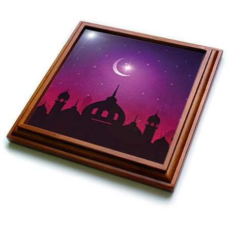 3dRose Sven Herkenrath Religion - Mosque Islam Muslim Islamic with Moon and Purple Background - 8x8 Trivet with 6x6 ceramic tile (trv_280333_1) by 3dRose