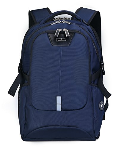 TSA Friendly ScanSmart Laptop Backpack - Fits Most 17 Inch Laptops and Tablets Water Resistant (Black/Blue) (Blue)