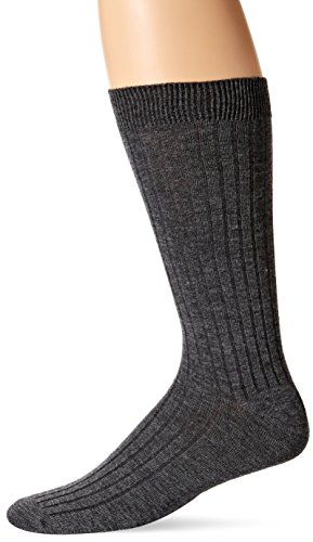 ECCO Men's Merino Wool Dress Sock,Charcoal,10-13 (Shoe Size 6-12.5) (Dress Socks Wool)