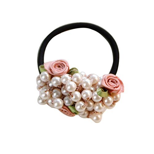 Putars Women Portable Multifunction Fashion Rhinestone Crystal Pearl Hair Band Rope Elastic Ponytail Holder Brown (Pony Pearl)