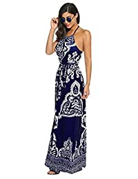Meaneor Women's Casual Halterneck Sleeveless Floral Maxi Dress
