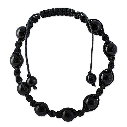 Adjustable Black Bracelet Macrame - NOVICA Macrame Shamballa Beaded Bracelet with Black Onyx, Adjustable Length, Blissful Protection'
