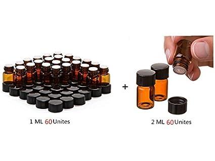 Elufly 60 unidades 1/4 DRAM ámbar Botellas De Vidrio + 60 unidades 2 ml