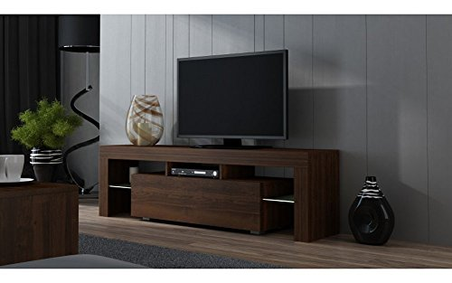 TV Stand MILANO 160 White line / Modern LED TV Cabinet / Living Room Furniture / Tv Console fit for up to 70' flat TV screens / Capacity Tv Console for Modern Living Room (Walnut & Walnut)