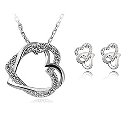 HSG White Double Heart Crystal Set Secret Language of Love Jewelry Heart Shape Earrings & Necklace