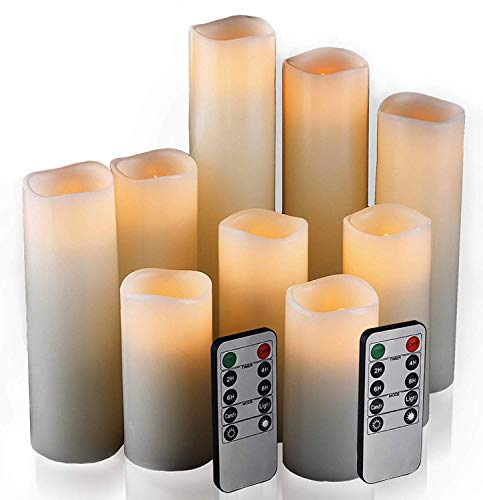 Flameless Candles Led Candles Set of 9H 4quot 5quot 6quot 7quot 8quot 9quot xD 22quot Ivory Real Wax Battery Candles with Remote Timer Batteries not Included