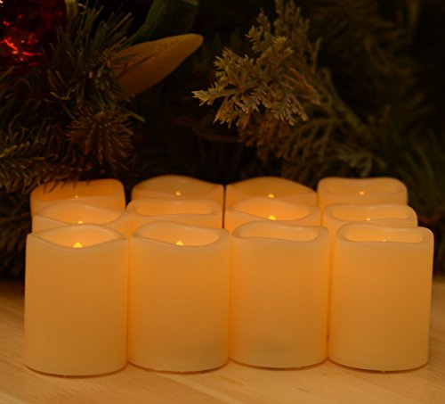 Battery Operated Flickering Flameless Candles – Set of 12 Ivory with Auto – Off Timer Tealight,SWEETIME Votive Led Candles for Weddings and Parties. by Sweetime (Image #1)
