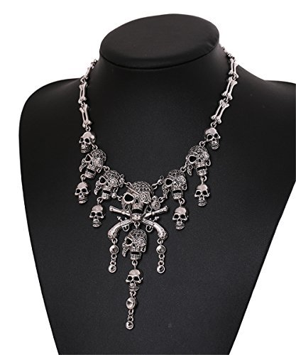 Fashion Multi-level Pirate Skull Tassel Charm Necklace Collar Bib for Women