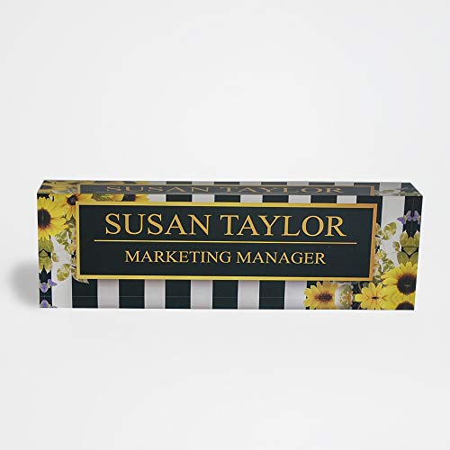 (Desk Name Plate Personalized Name & Title, Sunflowers Design Printed on Premium Clear Acrylic Glass Block Custom Office Decor Home Accessories Desk Nameplate Unique Customized Appreciation Gifts)