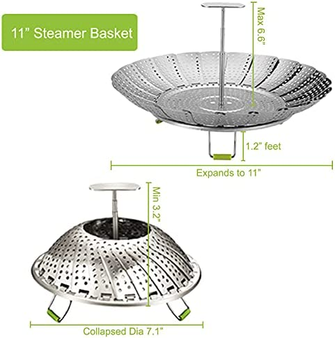 """41tkK7FmjqS. AC 11"""" Stainless Steel Steamer Basket, Vegetable Steamer Basket, Food Steamer, Vegetable Steamer, Foldable Steamer Insert for Veggie Meet Cooking, Expandable to Fit Various Size Pot    The steamer basket is made of food grade 430 stainless steel, with no rust."""