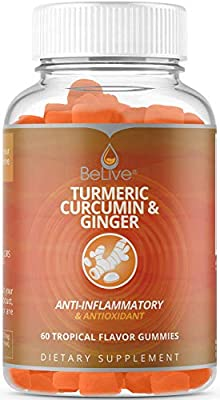 Turmeric with Ginger Gummies Curcumin Vitamins for Anti Inflammatory, Antioxidants Boost and Joint Relief Supplement. Vegetarian Friendly, All Natural Chews for Adults & Kids 60 Count