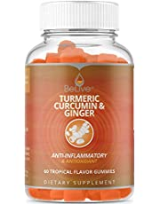 BeLive Turmeric with Ginger Gummies Curcumin Vitamins, Vegetarian Friendly, All Natural Chews for Adults & Kids, 60 Count