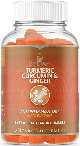 Turmeric with Ginger and Curcumin Gummies Vitamins, Joint Pain Relief. Anti-Inflammatory, Antioxidant Supplement, Vegetarian Friendly, All Natural Chews for Adults & Kids, 60 Count