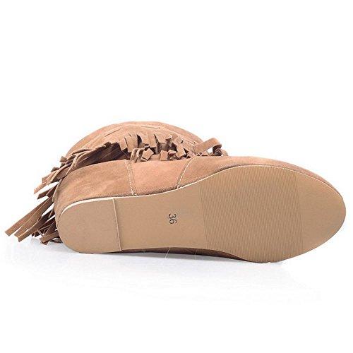 Wedges Fringe Heel Classical Khaki Heel Women High TAOFFEN Boots Hidden pZx0g