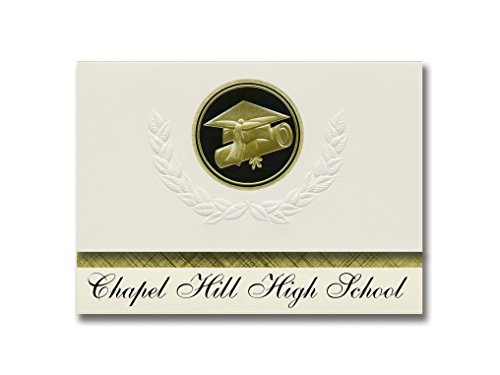 Chapel Invitations - Signature Announcements Chapel Hill High School (Tyler, TX) Graduation Announcements, Presidential style, Basic package of 25 Cap & Diploma Seal. Black & Gold.