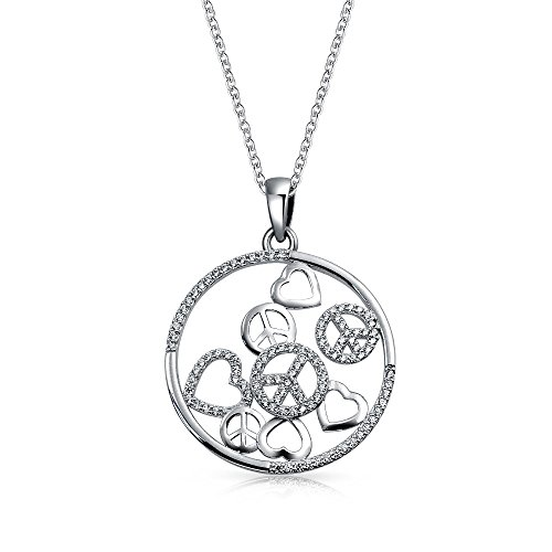 (Love Heart Circle Cubic Zirconia Pave CZ Round Peace Sign Pendant Necklace For Women For Teen 925 Sterling Silver)