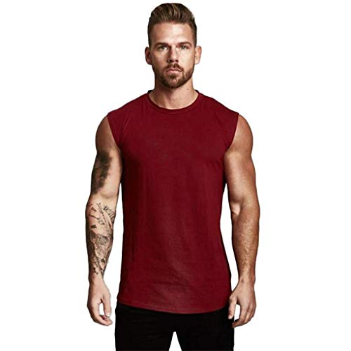 - iHPH7 T-Shirt Vest Men Sleeveless Tanks Fashion Round Collar Elliptical Hem Casual Fitness T-Shirt Vest XXL Wine Red