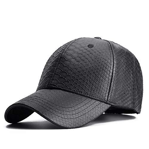SLH 男性のためのレジャーハットメンズファッション人工皮革ブラックベースボールキャップハット