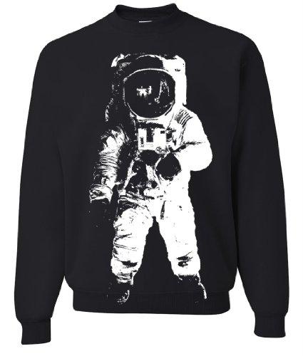Space Astronaut Man on the Moon White Print Crewneck Sweatshirt