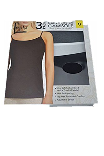 Felina Women's 3 Pack Cotton Stretch Camisole, Black/White/Gray (Small)