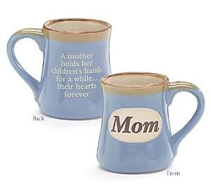 Mom Porcelain Blue Coffee Tea Mug Cup 18oz Gift Box Holds Childs Hands...Hearts