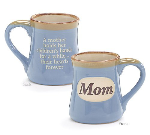 Mom Porcelain Blue Coffee Tea Mug Cup 18oz Gift Box Holds Childs Hands...Hearts