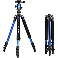 ZOMEi Q555 Lightweight Alluminum Alloy Camera Tripod with 360 Degree Ball Head + 1/4 Quick Release Plate For Canon Nikon Sony Samsung Panasonic Olympus Fuji DSLR And Camcorders(Blue)