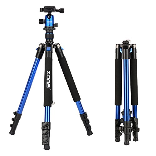 ZOMEi Q555 Lightweight Alluminum Alloy Camera Tripod with 360 Degree Ball Head + 1/4'' Quick Release Plate For Canon Nikon Sony Samsung Panasonic Olympus Fuji DSLR And Camcorders(Blue) by ZoMei