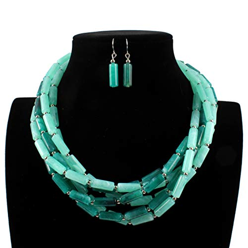 ELFTUNE Acrylic Tubular Beads Faux Pearl Colorful Stone Twisted Bohemian Style Columnar Women Fashion ()