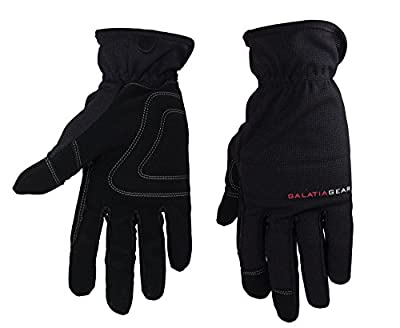 Galatia Gear Work Gloves- Nubuck Leather Palm with Reinforced Vibration Pads, Flexible Spandex Backing with Elastic Wrist Cuff- Black/Gray