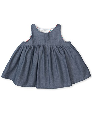 Colored Organics Baby Girls Organic Halle Chambray Tank Shirt - Faux Chambray - 18-24 (Girls Chambray Jumper)