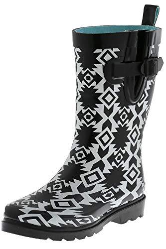 - Capelli New York Ladies Terra Diamonds Printed Mid Calf Rain Boots Black Combo 10