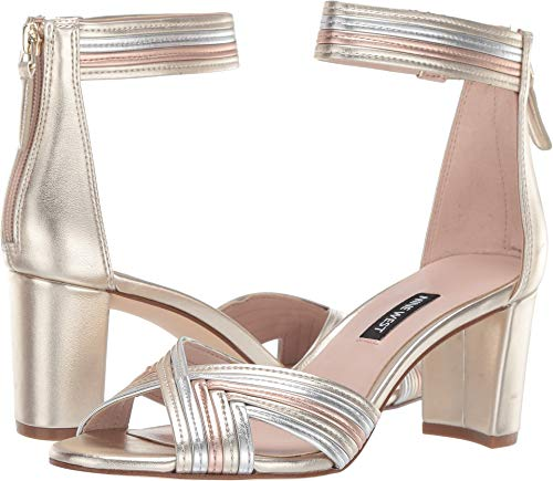 Nine West Women's Pearl Heeled Sandal Platino/Silver/Rose Gold 6 M US