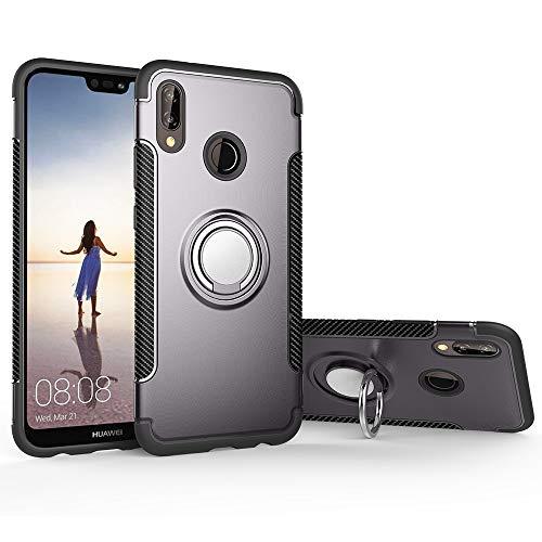 (Case for Huawei Nova 3 PAR-AL00 PAR-TL20 PAR-LX1 PAR-L11 PAR-LX9 PAR-L29 Case Cover + 360 Degree Rotating Ring Holder Kickstand Gray)