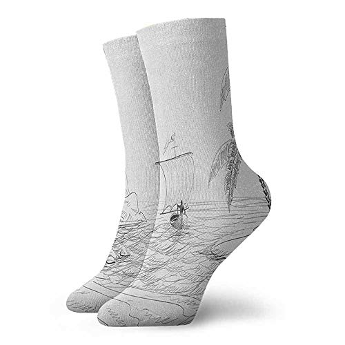 Personality socks Seascape Sketch with Boat Palm Tree and Lighthouse Coastal Hand Drawn Artwork Suitable for young people