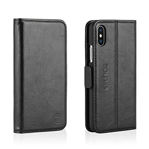 archaz iPhone X Leather Wallet Case - iPhone 10 Wallet Case with Magnetic Latch Closure - Adjustable Viewing Stand - 3 Card Slots - Compatible with Wireless Charger (Charcoal Black) ()