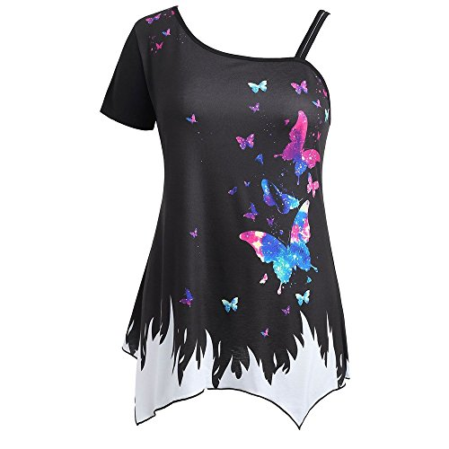 GIFC Clearance Women Plus Size T-Shirt Butterfly Print Floral Short Sleeve Off Shoulder Casual Loose Tank Tops Blouse (XXXXXL, ()