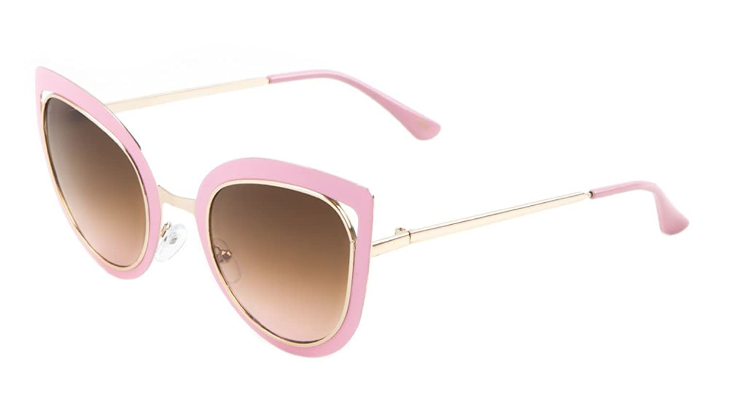 Sunglasses Luxe. Metal Cat Eye Sunglasses. (PINK AMBER)